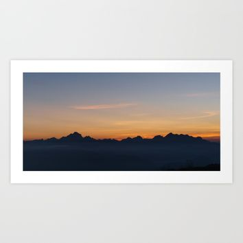 Mountain Range Silhouette Art Print by Mixed Imagery