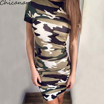 New Ladies Neon Camouflage Midi Dress Womens Camo Army Green Summer Casual Slim Mini Dresses Vestidos Chicanary
