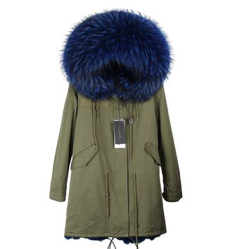 MMK 2017 new fashion women genuine raccoon fur collar hooded coat long parkas winter jacket with thick real faux fur lining