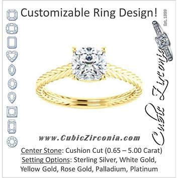 Cubic Zirconia Engagement Ring- The Florence (Customizable Cathedral-set Cushion Cut Solitaire with Vintage Braided Metal Band)