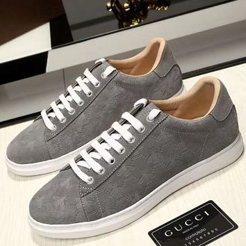 GUCCI 2018 bee high quality men's shoes street fashion low profile casual fashion shoes F-OMDP-GD grye