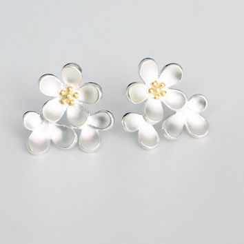 Sweet fresh cherry blossom 925 sterling silver earrings,a perfect gift