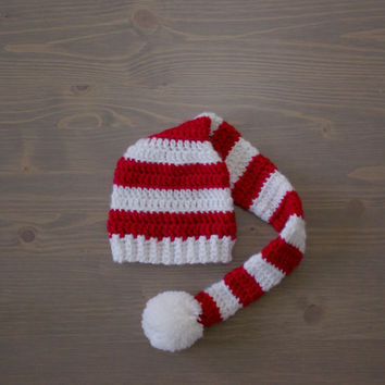 Red and White Striped Crochet Baby Hat with Pom Pom, Crocheted Baby Hat, Newborn Photography Prop, Stocking Hat, Christmas Hat, Elf Hat