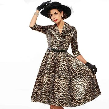 Sisjuly Vintage Women Dress Half Sleeve Leopard Women Vintage Pin Up Dress Lapel Knee-Length Half Sleeve Rockabilly Party Dress