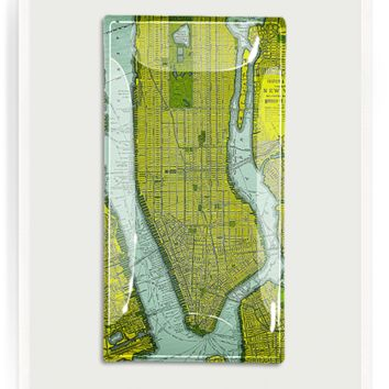 Vintage New York City Ferry Map No. 1 Decoupage Map Glass Tray