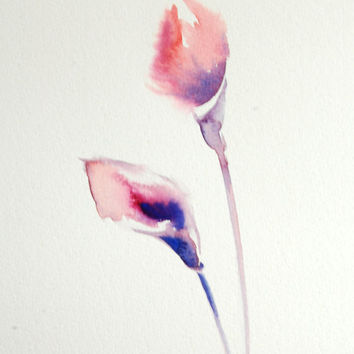 Minimalist Flowers Original Watercolor Painting, Abstract Floral Pink Blue Modern Watercolour Art