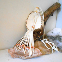 Medicine Bag with Fringe, Medicine Pouch, Amulet Bag with Wood Beads, White, Handmade, Native American, Powwow, Mountain Man, Hippie, Boho