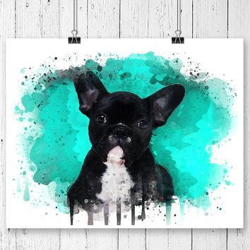 French Bulldog Watercolor Art Print - Unframed