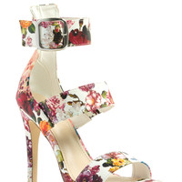 Floral Charm Strappy Heels GoJane.com