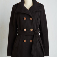 Menswear Inspired Long Long Sleeve Make or Coffee Break Coat in Black