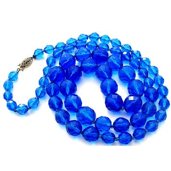Vintage Royal Blue Glass Bead Necklace 28""