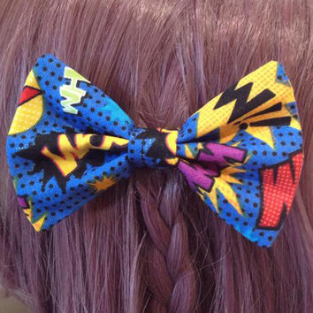 Nerd Geek Comicbook Word Nerdy Geeky Fashion Superhero Hero Blue Comic Hair Bow Tie