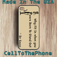Dr. Seuss WHY FIT IN iphone 4 case - iphone 4s Iphone 5 case cell phone case - Plastic - Rubber case Dr Seuss iphone4 - (i4005)