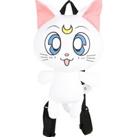 "Licensed cool Sailor Moon Artemis Cat Plush Zipper Pouch Backpack Purse Tote Bag 15""x10"" White"
