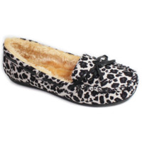 Faux Soft Suede Fur Lined Moccasin Loafers Leopard