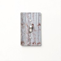 Whimsical Rusty Village Style Wood Background Light Switch Cover
