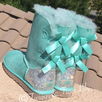 63ba915692a Swarovski Crystallized Ugg Boots - Bling Surf Spray Bailey Bow Uggs with  Swarovski Crystal Bling Boot Heel - Mint Uggs with Crystal Bling