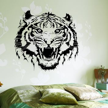 Wall Vinyl Decal Roar Tigers Head Ethnic Jungle Decor For Living Room Unique Gift z3657