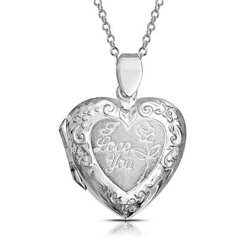 Embossed Love You Heart Shape Locket Pendant Sterling Silver Necklace