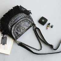 Leather Mosaic Tassels Punk Rivet Shoulder Bags Casual Chain Tote Bag [4915799748]