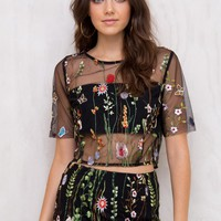 Wild Fire Embroidered Crop Top