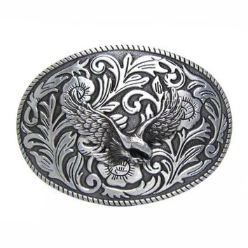 Oval Vintage Floral Flower Eagle Western  Belt Buckle Free Shipping