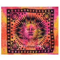 Large Colorful Tie Dye Hippie Sun and Moon Tapestry Wall Hanging Bedding Bedspread on RoyalFurnish.com
