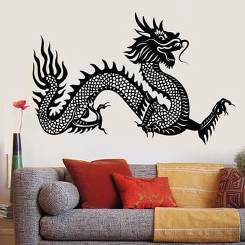 Vinyl Wall Decal Chinese Dragon Symbol Asian Style Fantasy Legend Stickers Unique Gift (1153ig)