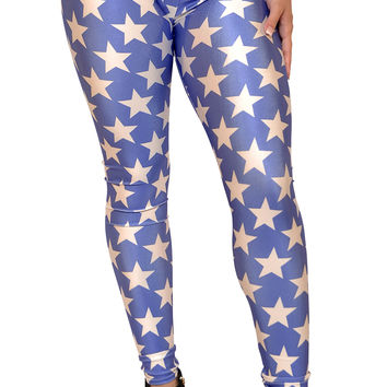 Blue With White Five Point Stars Leggings Size Large