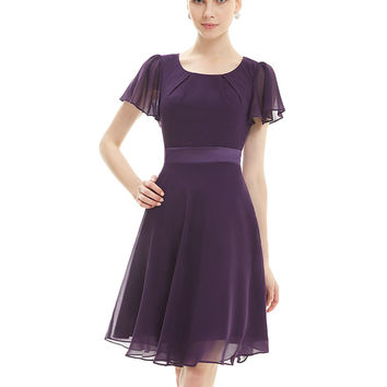 Cocktail Party Dresses Ever Pretty AS03990 Purple Round Neck Chiffon Short Elegant Summer 2016 New Arrival Cocktail Dresses