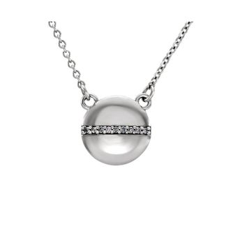 .025 Ctw Diamond 10mm Circle Necklace in 14k White Gold, 16 Inch