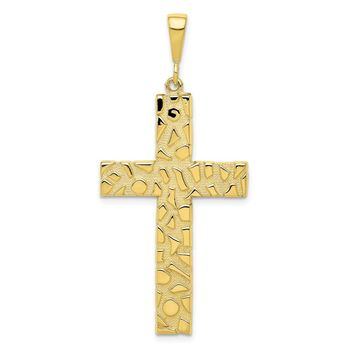10k Yellow Gold Polished Nugget Cross Pendant - Religious Jewelry