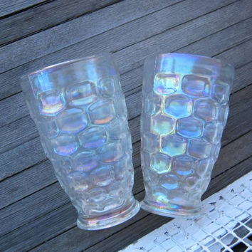 "2 Vintage Federal Glass 5 1/4""Tumblers; Iridescent Rainbow-Reflective Drinking Glasses' 'Thumbprint' Pattern"