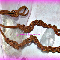 Hippie Brown Leather Headband Leather Choker Boho Jewelry Direct Checkout