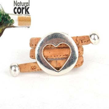 Natural cork Antique sliver Hollow Love heart vintage women cork Ring original adjustable  handmade wooden vegan jewelry HR-013