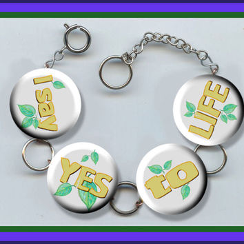 I Say YES to LIFE Positive Daily Affirmation Altered Art Button Charm Bracelet with Rhinestone