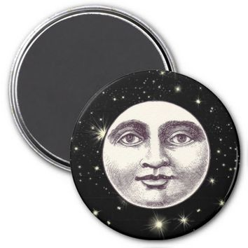 Victorian man in the moon magnet