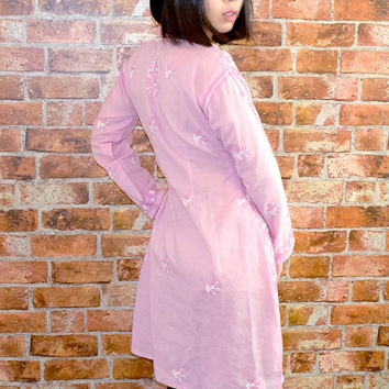 10% OFF and 10 Precent to the Charity Vintage Cotton Dusty Pink Embroidery Tunic Shirt
