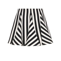 Striped wool and silk miniskirt