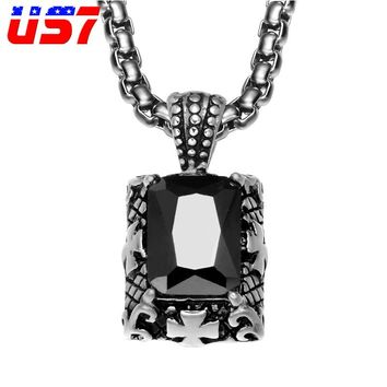 US7 Punk Vintage Cubic Zirconia Stainless Steel Pendants & Necklaces Casting Gothic Black Natural Stone Necklace for Men Jewelry