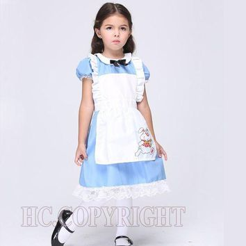 LMFON Alice In Wonderland White Apron Blue Dress Lolita Dresses Girls Maid Cosplay Child Fantasia Carnival Costumes For Children's Day