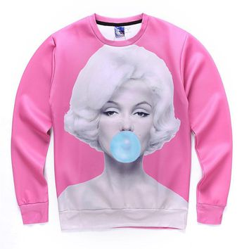 Sexy Marilyn Monroe Bubble gum Sweatshirts For Women/Men 3D Printed Long Sleeves Hoodies Pink Tops Brand Sudaderas Hombre #8223