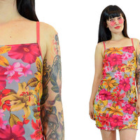 vintage 90s hot pink tropical mini dress sheer mesh floral Hawaiian beach summer bodycon bandage 1990s kawaii cyber pastel grunge small