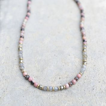 Rhodonite and Labradorite Delicate Necklace
