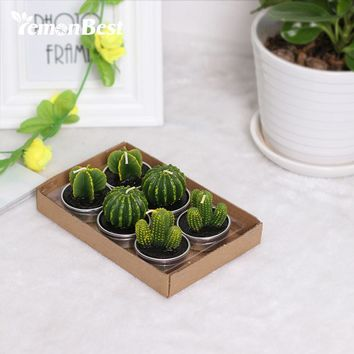 6PCS/Set Home Decor Unique Cactus Candle Table Tea Light Garden Mini Simulation Plant Candle For Birthday Wedding Decorative