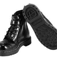 Black Leather Brogue 2-Buckle Combat Boot
