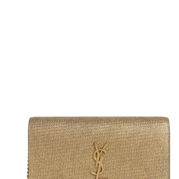 Saint Laurent Kate Crinkled Metallic Leather Wallet on a Chain | Nordstrom