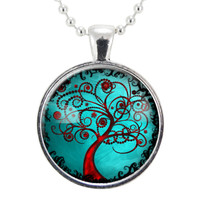 Tree Of Life Necklace, Blue & Red Pendant