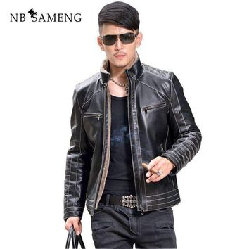 Winter Warm Motorcycle Business Casual Mens Sheepskin Leather Jackets Coats Fur Collar Men Genuine Leather Jacket
