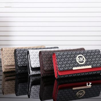 """Michael Kors"" Women MK Clutch Purse Fashion Metal Letter Logo Print Button Long Section Three Fold Wallet"
